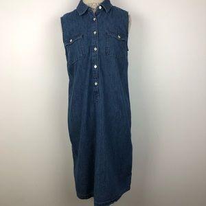 Talbots Denim Sleeveless Button Up Dress Size-12